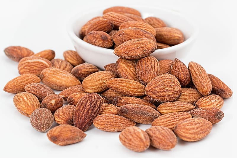 Pile of almond nuts