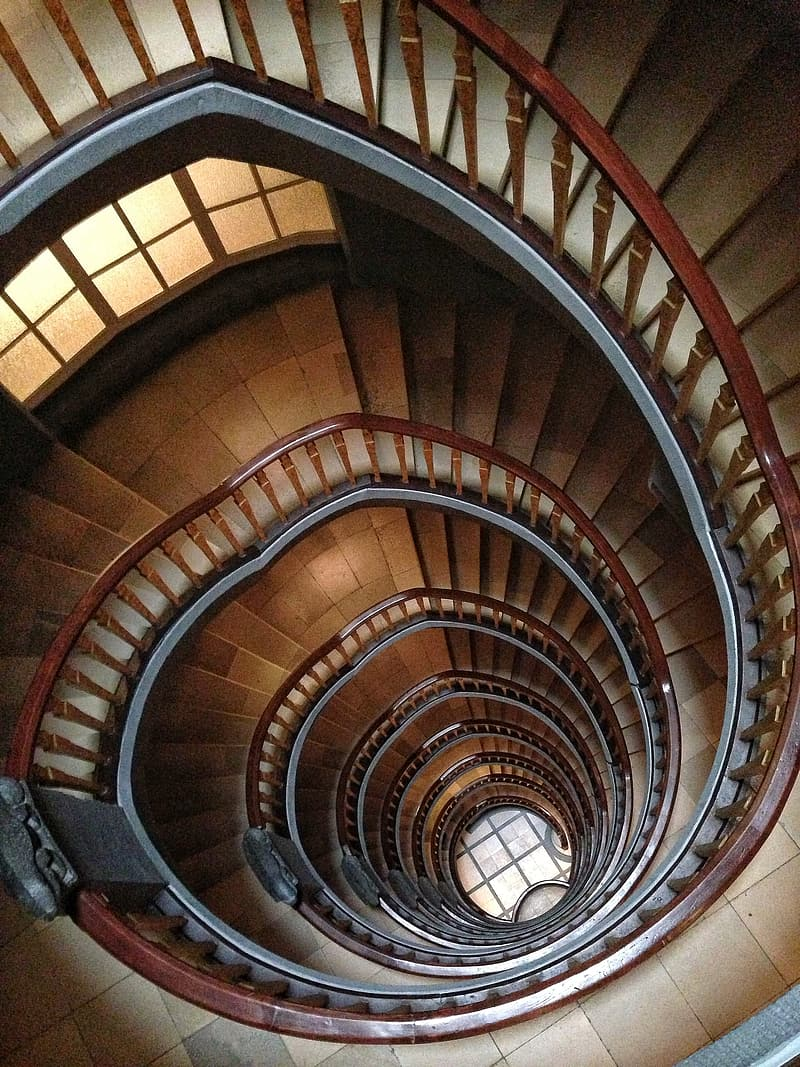 Brown spiral stair cleared