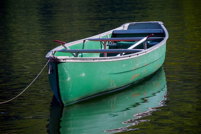 Green and gray Canoe