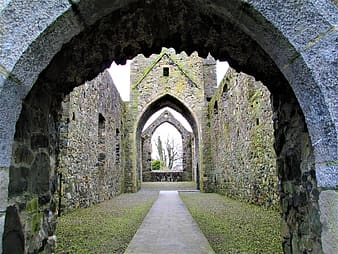 CARLINGFORD PRIORY-NORTHERN IRELAND....., gray pathway between walls