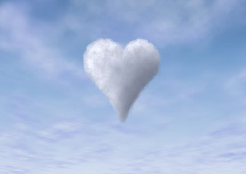 Heart-shaped white clouds