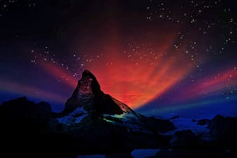 Mountain and stars graphic