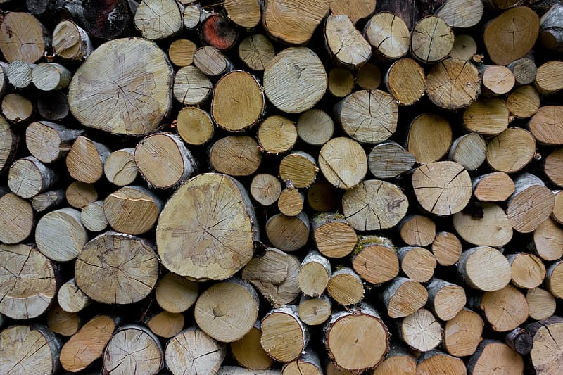 Brown wooden firewood lot