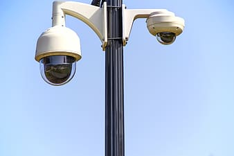 Two white dome pole security cameras