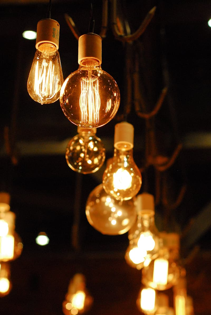 Low light photography of lighted lamps