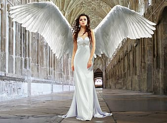 Woman angel wearing white dress