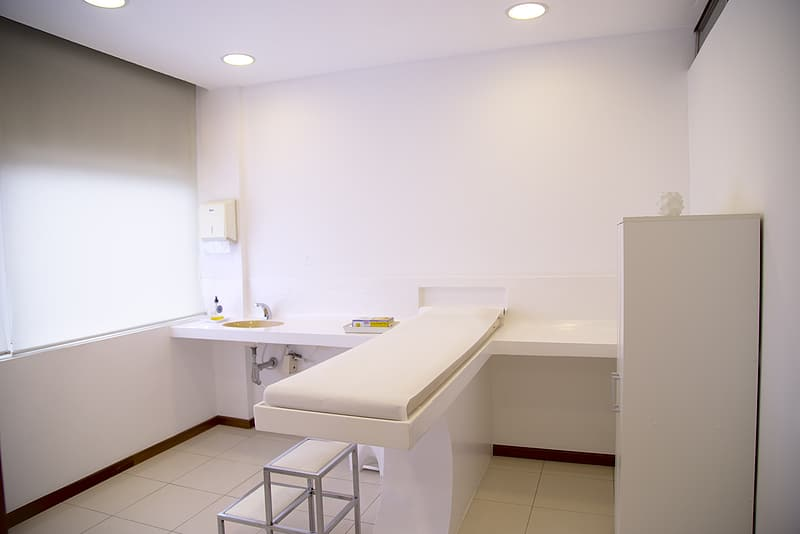 White wooden table and cabinet