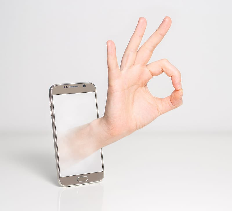 Silver Samsung Galaxy S6 displaying 3D hand