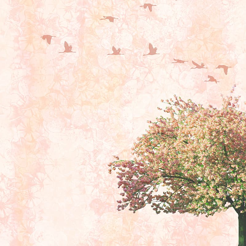Purple and white tree with birds illustration