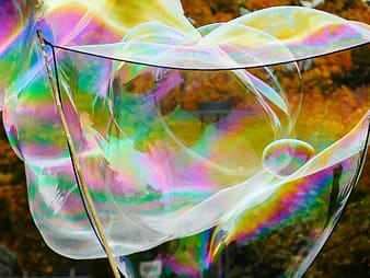 Pink yellow and blue bubbles