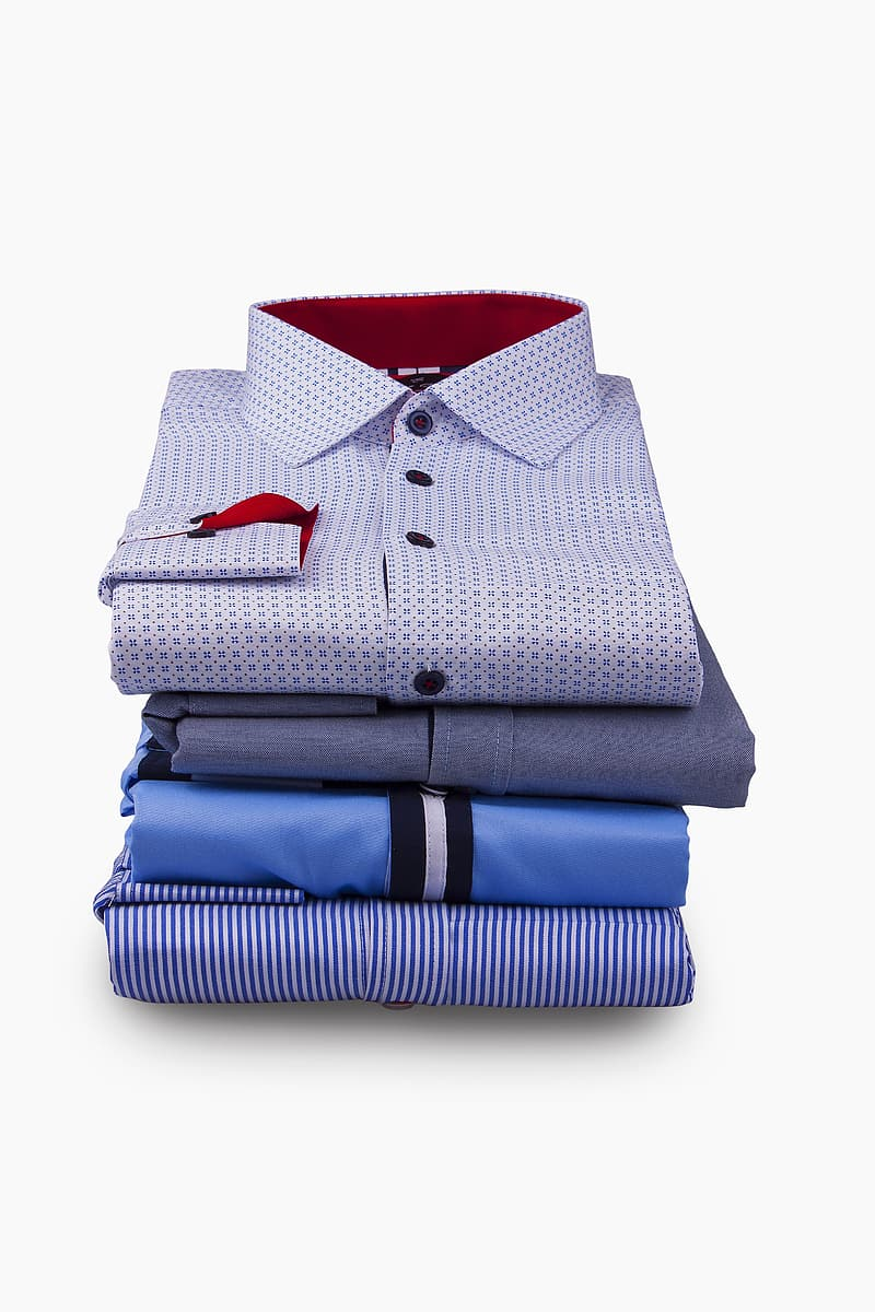 Four assorted color button-up shirts