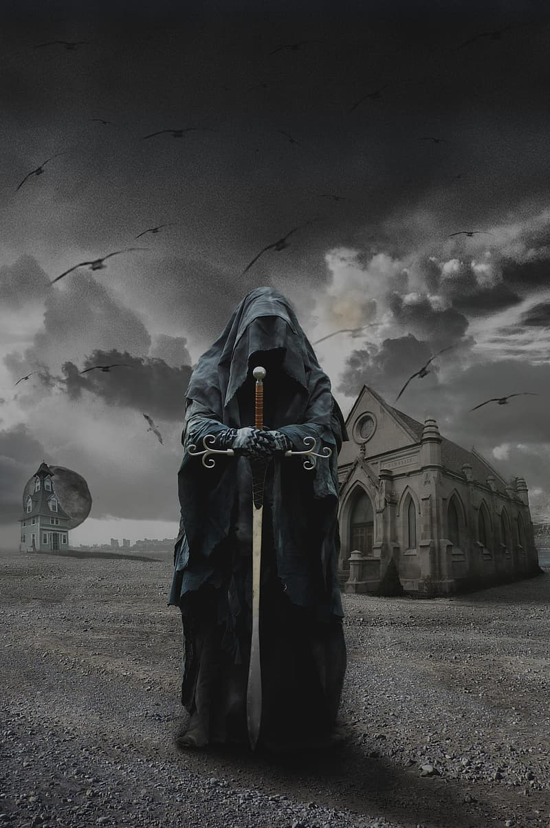 Photo of man wearing black robe holding brown wooden-hilt sword near building with flight of crows