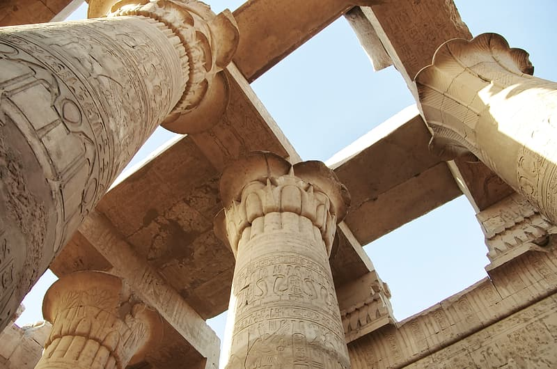 Low angle photography of concrete columns