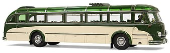 White and green bus die-cast model