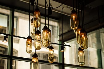 Gold and clear glass pendant lamps