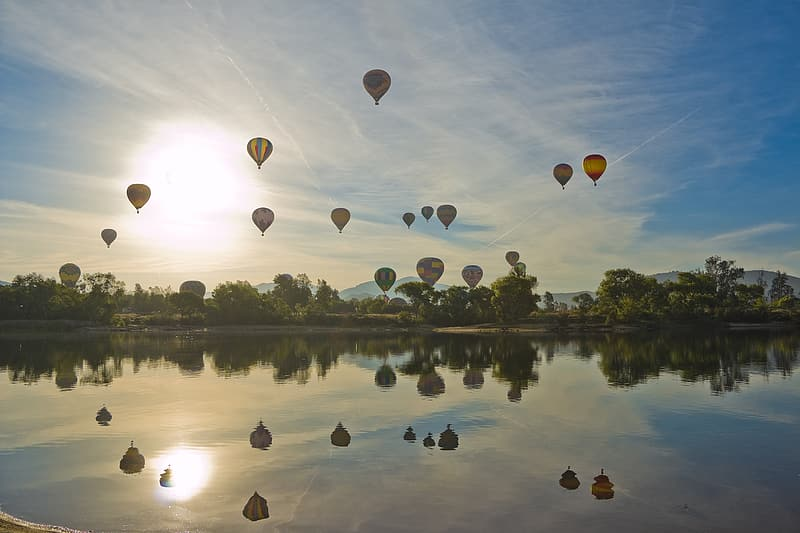 Hot air balloon event during day time