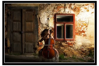 Woman playing cello painting
