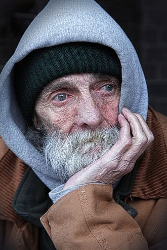 Portrait photography of man in gray hoodie