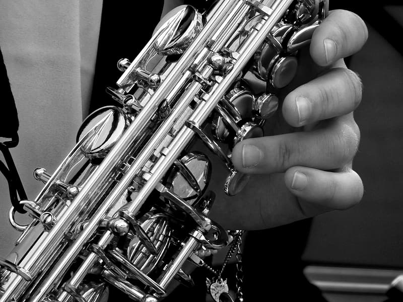 Grayscale photography of person playing saxophone