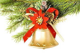 Gold and red bell with red ribbon