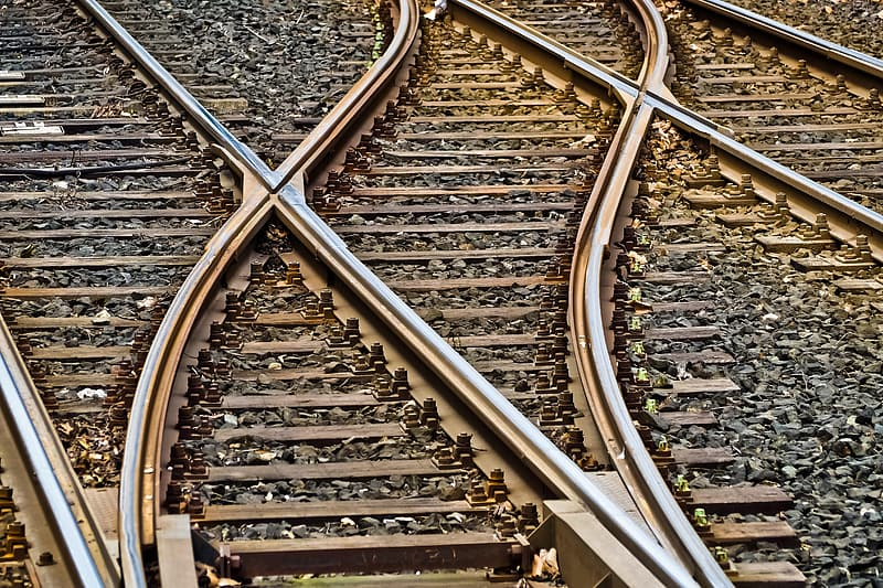 Close up photography of railway