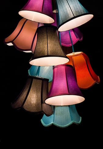 Assorted color hanging lamps