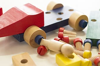 Dismantled wooden toy block