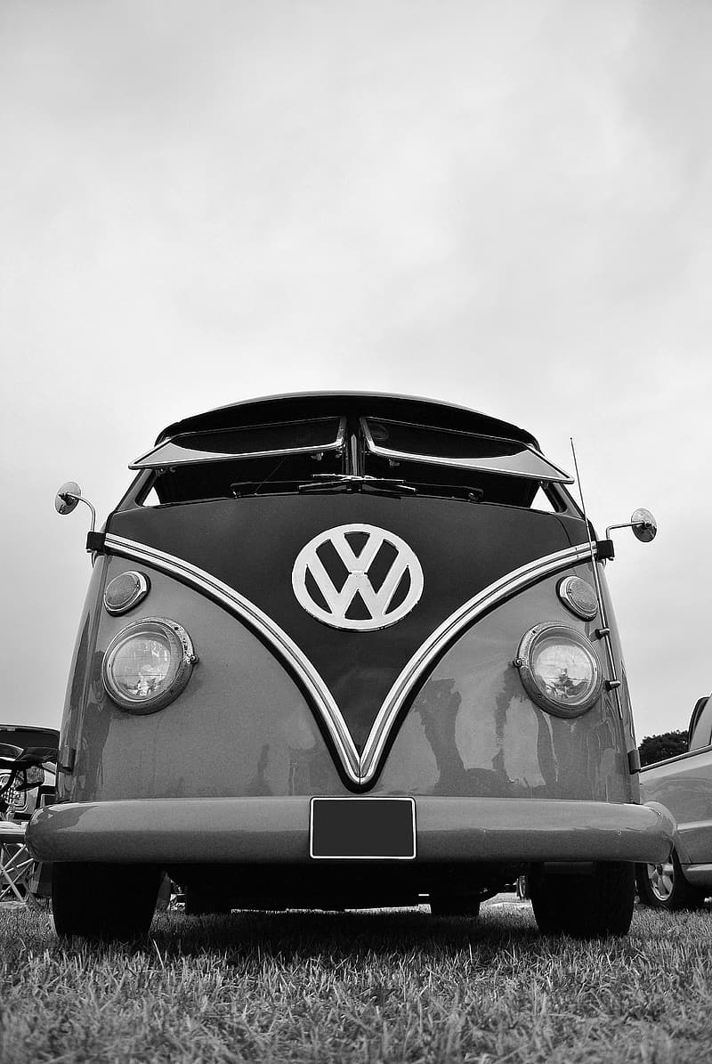 Grayscale photography of Volkswagen bus