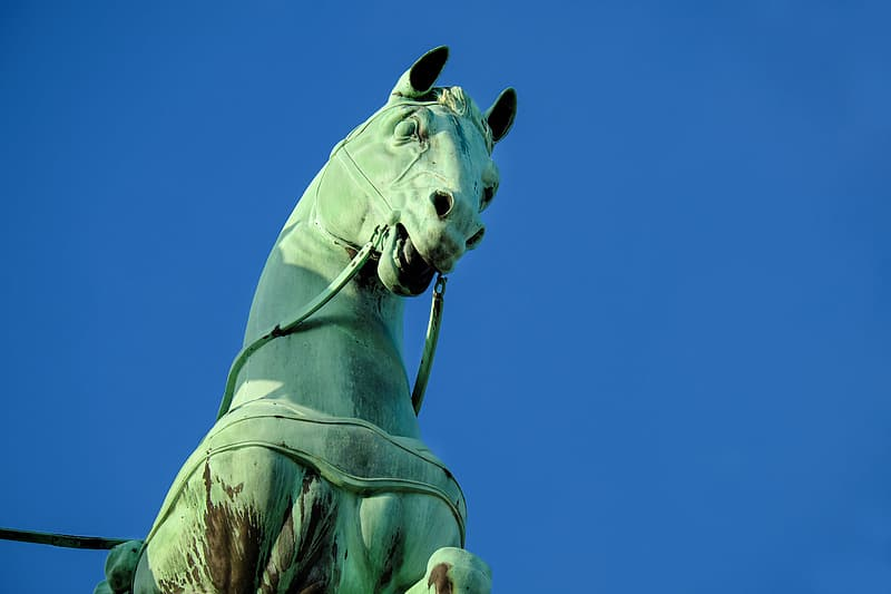 Close-up photography of green horse statue
