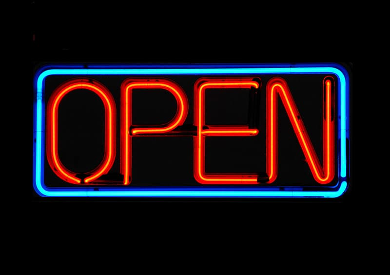 Red and blue open neon light signage