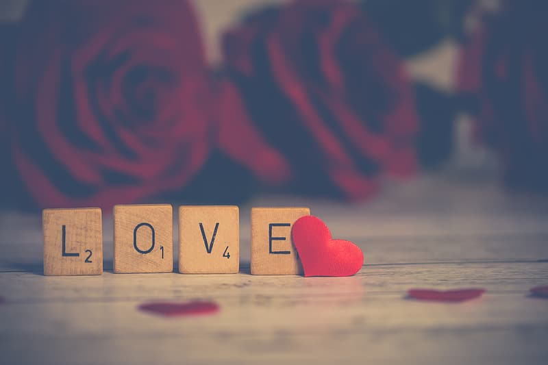 Four brown wooden love scrabble tiles, closeup photography of LOVE word standee