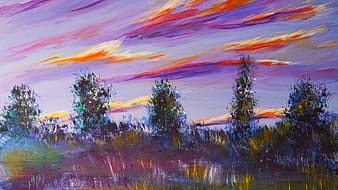 Multicolored trees painting