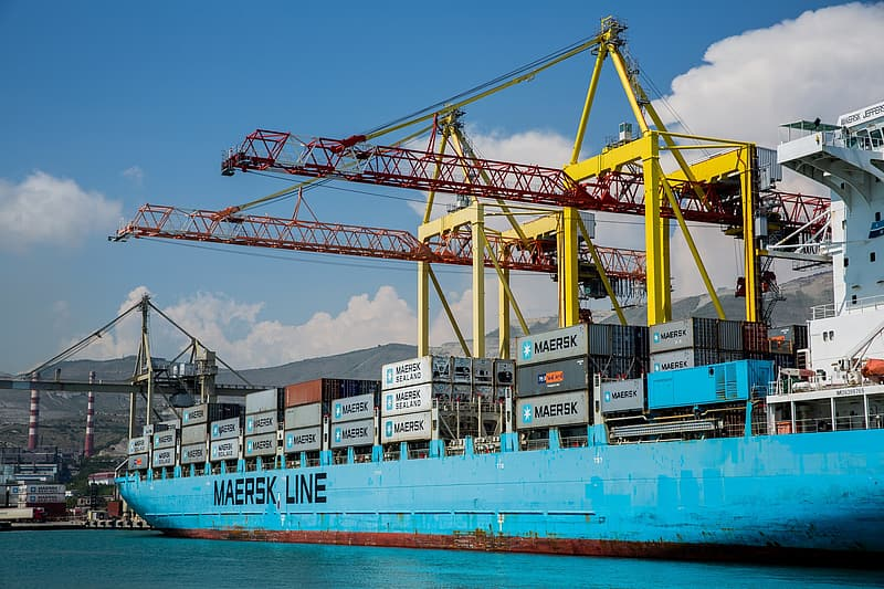 Blue Maersk Line ship on body of water