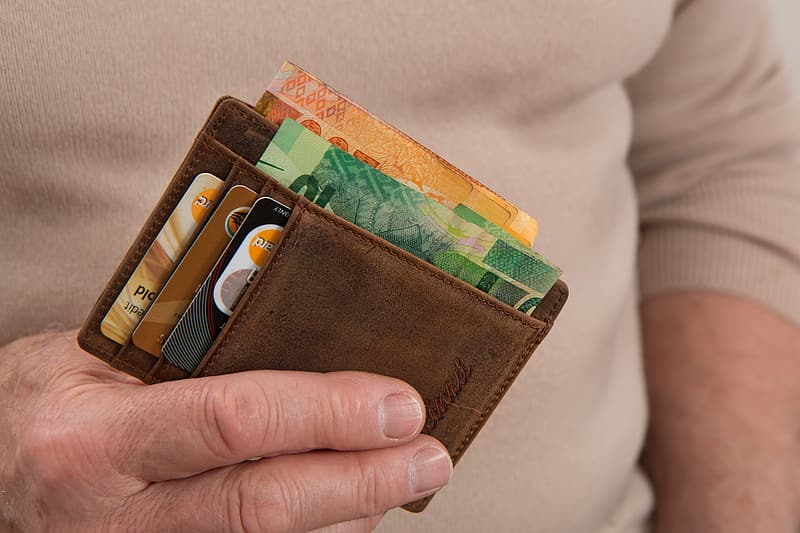 Person holding wallet with banknotes and cards in it