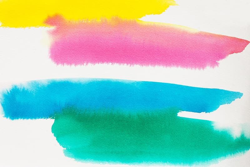 Pink, yellow, teal, and green paint swatches