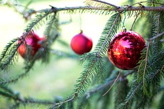 Three red Christmas baubles
