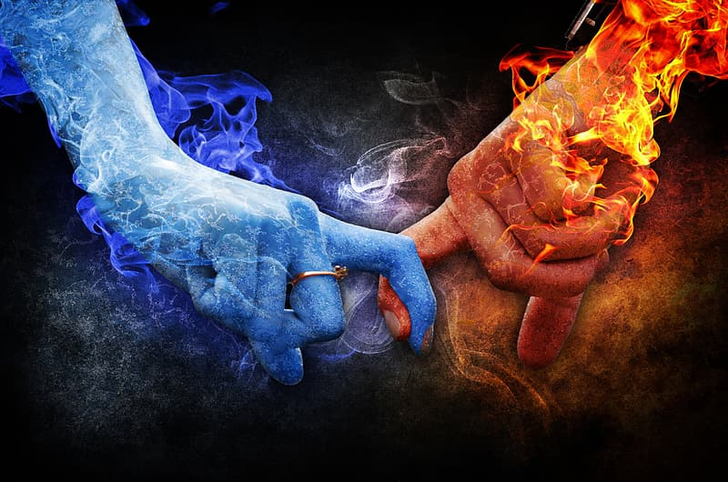 Water and fire finger cross illustration