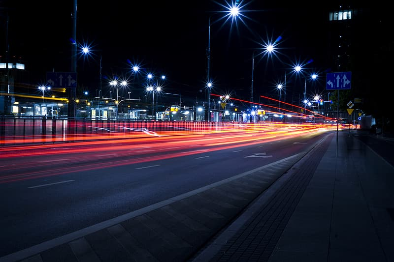 Time laps of vehicles during night time