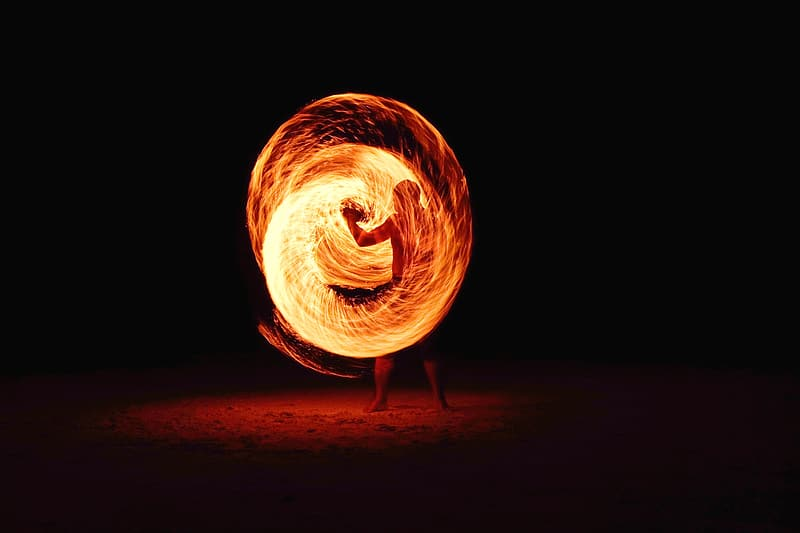 Person flame dancing time lapse