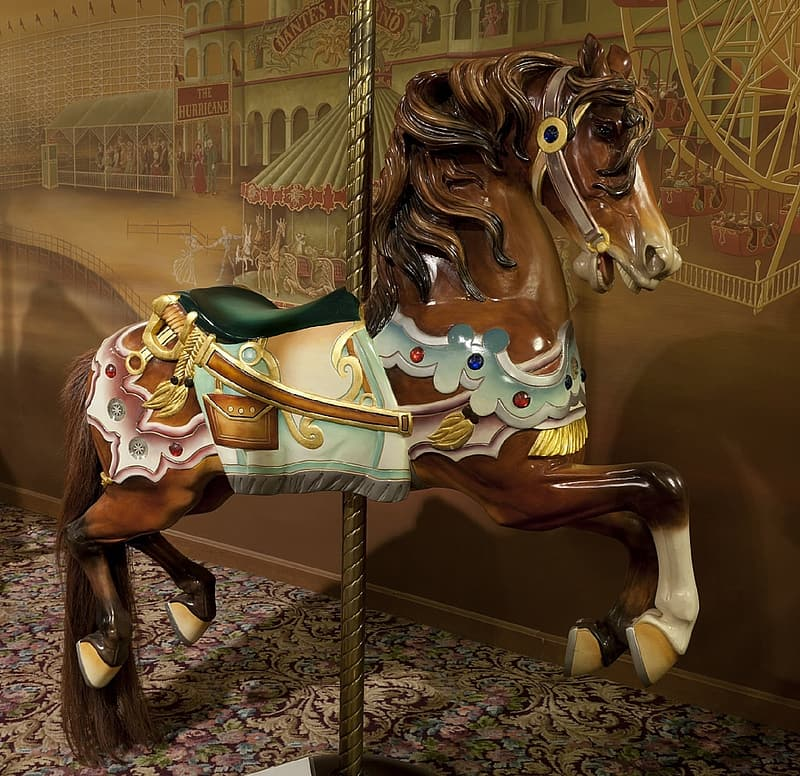 Brown and teal horse carousel