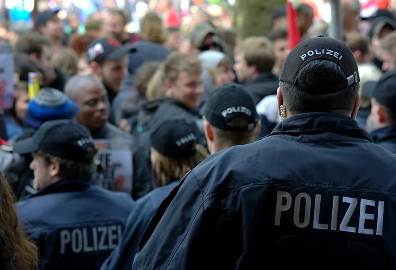 Police wearing caps