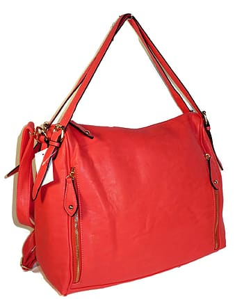 Red leather bag with white background