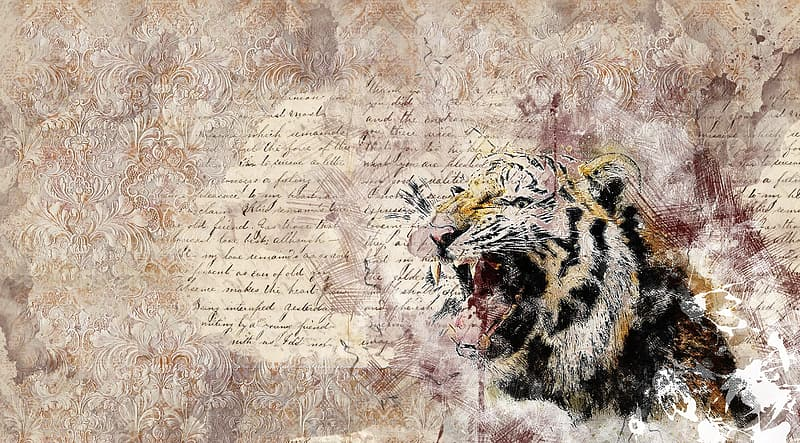 Brown and black tiger painting