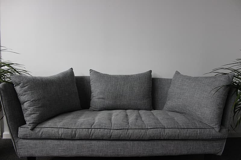 Gray and white throw pillows on gray couch