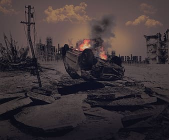 Selective color photography of wrecked car
