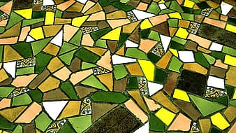 Green and brown concrete blocks