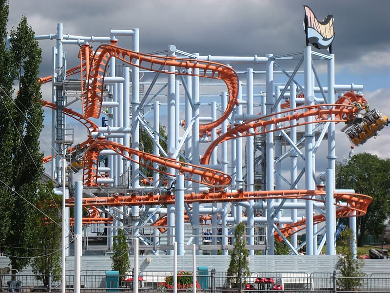 Orange and white roller coaster
