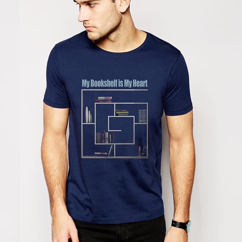 Man with blue crew-neck t-shirt