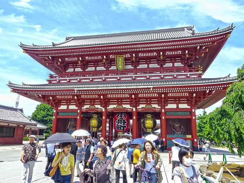 Low-angle photography of people outside a pagoda temple