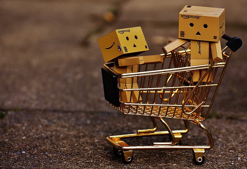 Two box toys on shopping cart